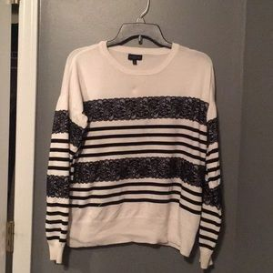The Limited striped and lace sweater